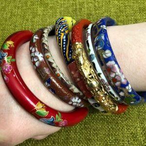 VTG Cloisonné Cinnabar Dragon Floral Bracelets